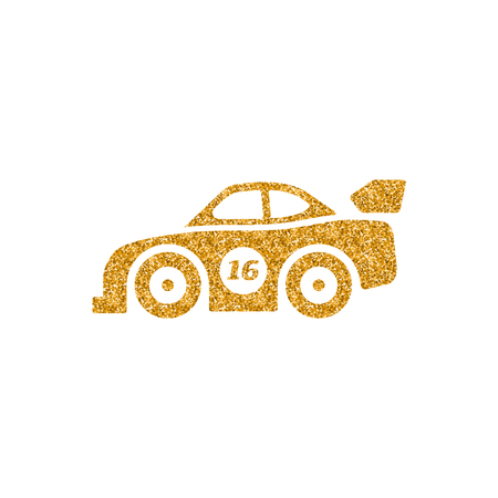 Race car icon in gold glitter texture. Sparkle luxury style vector illustration.  イラスト・ベクター素材