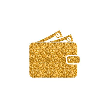Wallet icon in gold glitter texture. Sparkle luxury style vector illustration. Zdjęcie Seryjne - 112350356