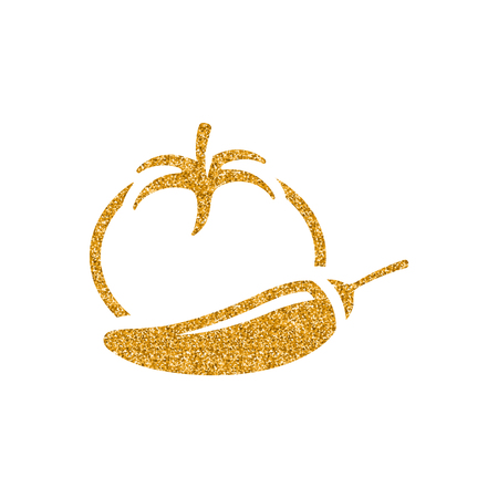 Tomato and pepper icon in gold glitter texture. Sparkle luxury style vector illustration. Illustration