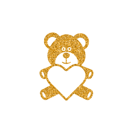Teddy holding heart shape icon in gold glitter texture. Sparkle luxury style vector illustration.