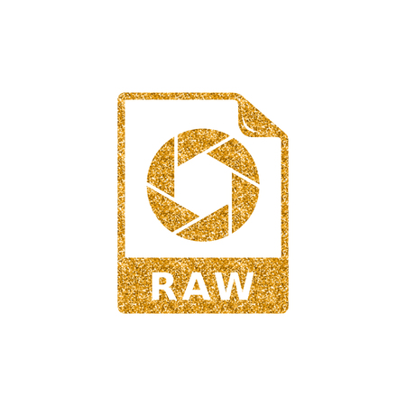 RAW file format icon in gold glitter texture. Sparkle luxury style vector illustration.