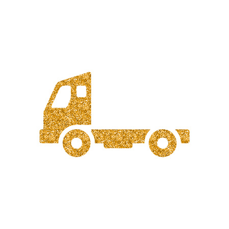 Empty container lift truck icon in gold glitter texture. Sparkle luxury style vector illustration. Vectores