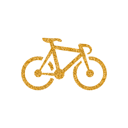 Track bike icon in gold glitter texture. Sparkle luxury style vector illustration.