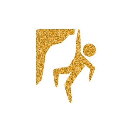 Klettern-Symbol in Goldglitter-Textur. Funkeln Sie Luxus-Stil-Vektor-Illustration.