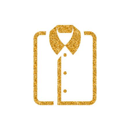 Folded shirt icon in gold glitter texture. Sparkle luxury style vector illustration. Zdjęcie Seryjne - 112350390