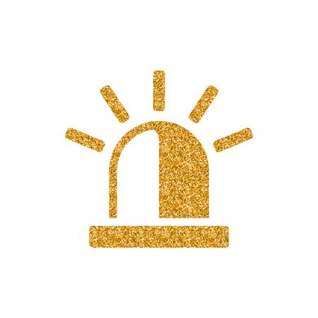 Siren icon in gold glitter texture. Sparkle luxury style vector illustration.