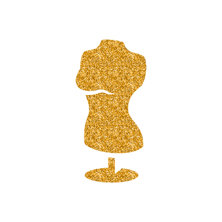 Mannequin icon in gold glitter texture. Sparkle luxury style vector illustration. Illustration