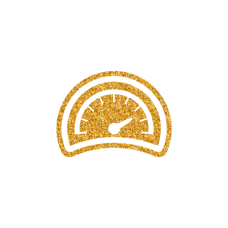 Dashboard icon in gold glitter texture. Sparkle luxury style vector illustration.