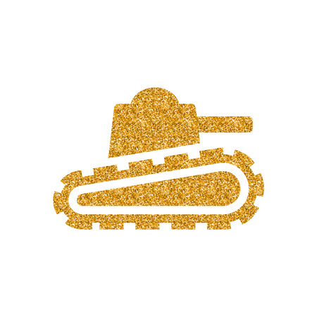 Army battle tank icon in gold glitter texture. Sparkle luxury style vector illustration.