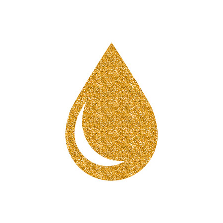 Water drop icon in gold glitter texture. Sparkle luxury style vector illustration.