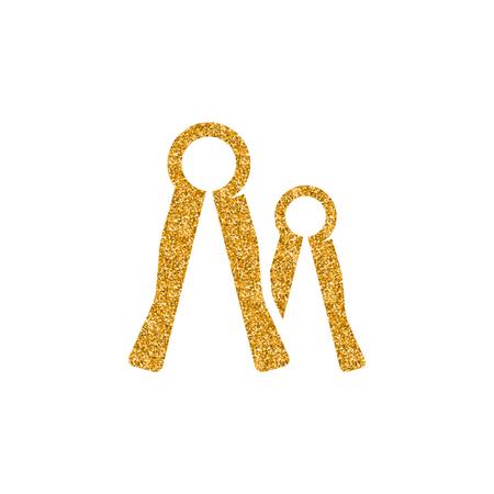 adjustable wrench icon in gold glitter texture. Sparkle luxury style vector illustration. Illustration