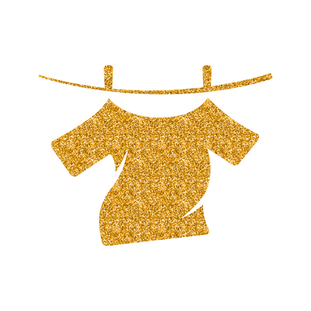 Clothes hang icon in gold glitter texture. Sparkle luxury style vector illustration.