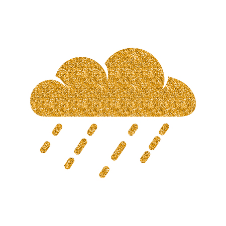 Rainy icon in gold glitter texture. Sparkle luxury style vector illustration.