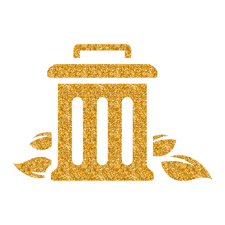 Trash bin icon in gold glitter texture. Sparkle luxury style vector illustration.