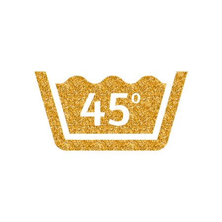 Washing temperature icon in gold glitter texture. Sparkle luxury style vector illustration.