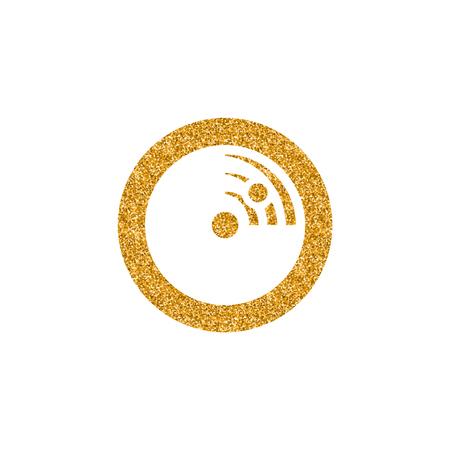 Radar icon in gold glitter texture. Sparkle luxury style vector illustration. Illustration