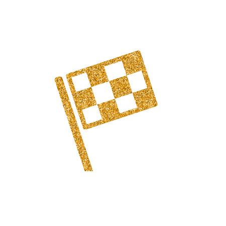 Race flag icon in gold glitter texture. Sparkle luxury style vector illustration.