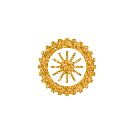 Motorcycle tire icon in gold glitter texture. Sparkle luxury style vector illustration. Illustration