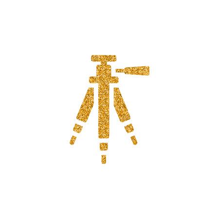 Camera tripod icon in gold glitter texture. Sparkle luxury style vector illustration.