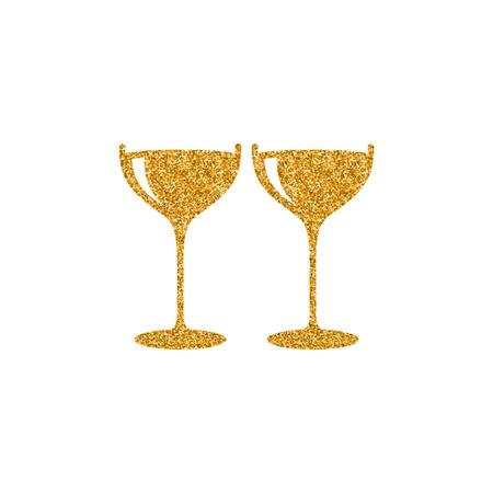Icona del bicchiere di vino in texture glitter oro. Sparkle illustrazione vettoriale di stile di lusso.