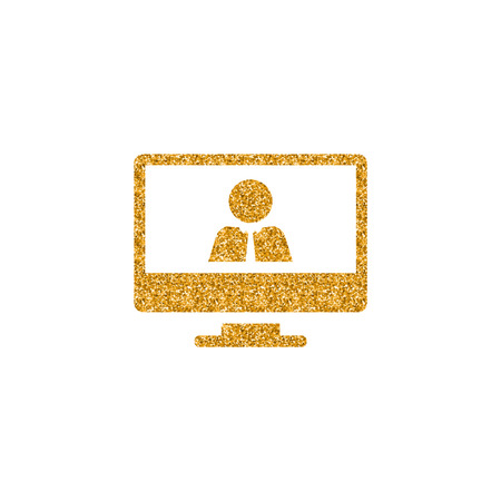 Computer chat icon in gold glitter texture. Sparkle luxury style vector illustration.