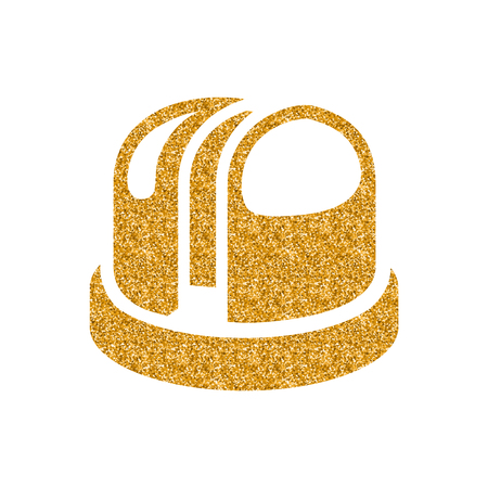 Earth telescope icon in gold glitter texture. Sparkle luxury style vector illustration.