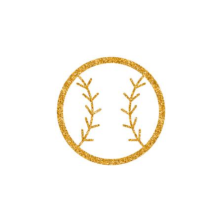 Baseball icon in gold glitter texture. Sparkle luxury style vector illustration.