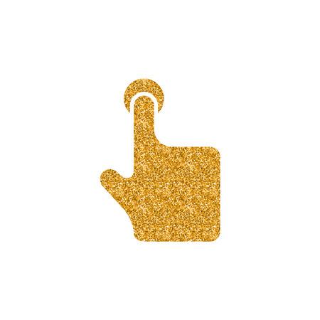 Finger gesture icon in gold glitter texture. Sparkle luxury style vector illustration. Illustration
