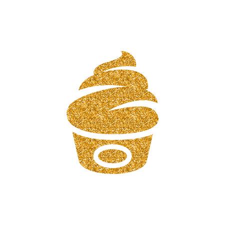 Ice cream icon in gold glitter texture. Sparkle luxury style vector illustration. Ilustração