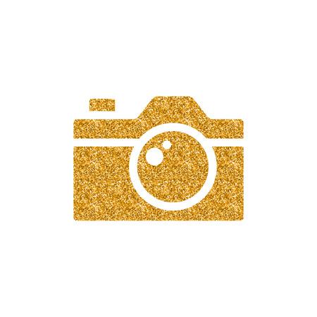 Camera icon in gold glitter texture. Sparkle luxury style vector illustration.