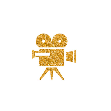 Movie camera icon in gold glitter texture. Sparkle luxury style vector illustration. 向量圖像