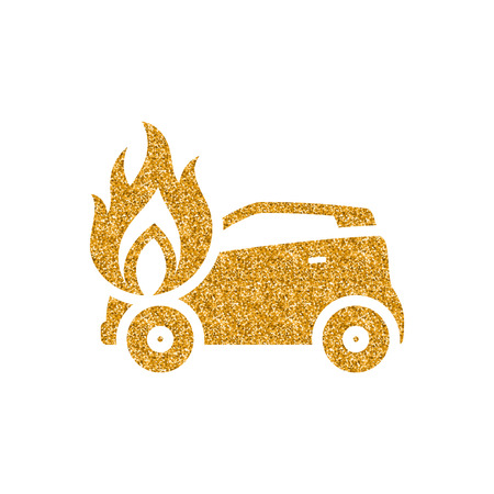 Car on fire icon in gold glitter texture. Sparkle luxury style vector illustration.