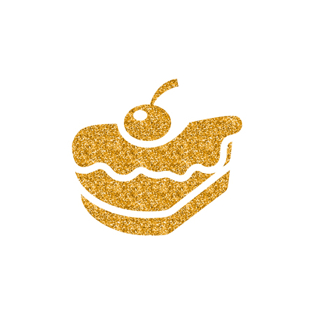 Cake icon in gold glitter texture. Sparkle luxury style vector illustration. Vettoriali