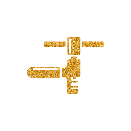 Chain icon in gold glitter texture. Sparkle luxury style vector illustration.