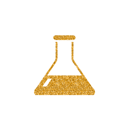 Beaker icon in gold glitter texture. Sparkle luxury style vector illustration.