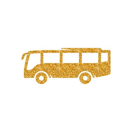 Bus icon in gold glitter texture. Sparkle luxury style vector illustration.