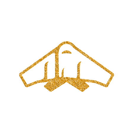 Stealth bomber  icon in gold glitter texture. Sparkle luxury style vector illustration.