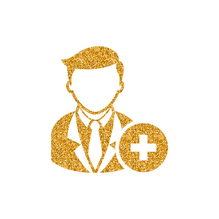 Businessman with plus sign icon in gold glitter texture. Sparkle luxury style vector illustration. Иллюстрация