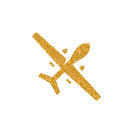Unmanned aerial vehicle icon in gold glitter texture. Sparkle luxury style vector illustration.