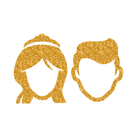 Bride and groom icon in gold glitter texture. Sparkle luxury style vector illustration. Ilustração