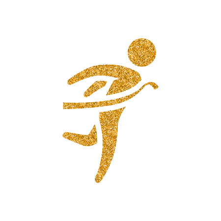 Finish line icon in gold glitter texture. Sparkle luxury style vector illustration. Illustration