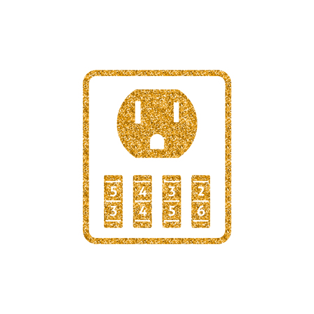 Protected electric outlet icon in gold glitter texture. Sparkle luxury style vector illustration.