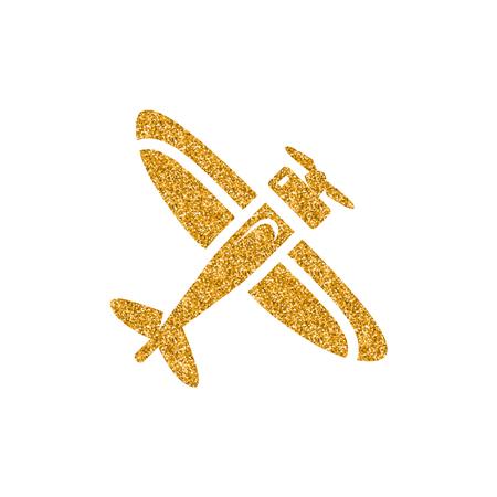 Vintage airplane icon in gold glitter texture. Sparkle luxury style vector illustration. Illusztráció