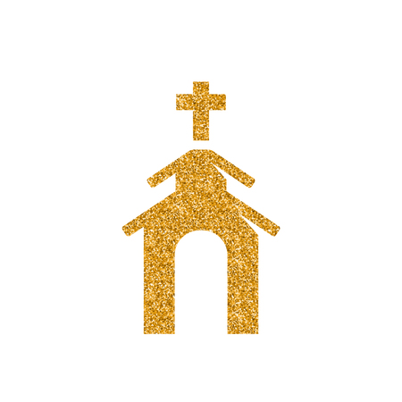 Church icon in gold glitter texture. Sparkle luxury style vector illustration. Vettoriali
