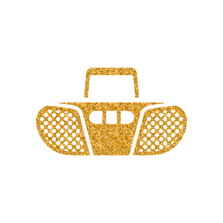 Tape cassette icon in gold glitter texture. Sparkle luxury style vector illustration.