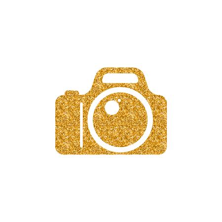 Icona della fotocamera in texture glitter oro. Illustrazione di vettore di stile di lusso scintilla. Vettoriali