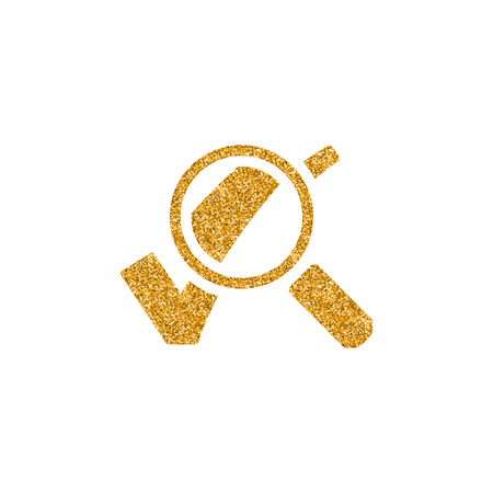 Magnifier check mark icon in gold glitter texture. Sparkle luxury style vector illustration. Çizim