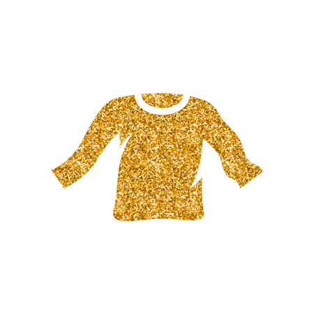 Long sleeve T-shirt icon in gold glitter texture. Sparkle luxury style vector illustration.