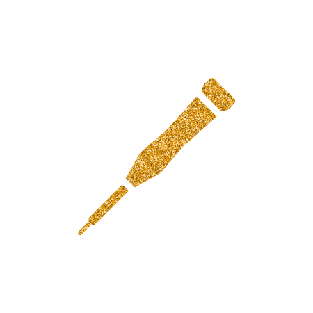 Screwdriver icon in gold glitter texture. Sparkle luxury style vector illustration.