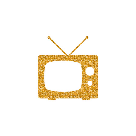 Television icon in gold glitter texture. Sparkle luxury style vector illustration.